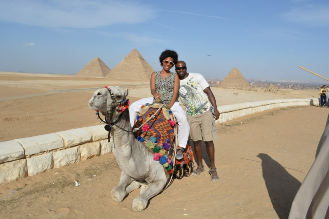 In front of the Pyramids of Giza